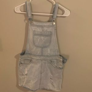 Forever 21 distressed jean overalls skirt